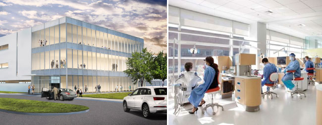 Picture of exterior and interior of the new health education campus